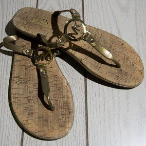 Michael Kors Gold Jelly Cork Flip Flops